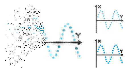 Sine plot icon in dissolved, pixelated halftone and solid variants. Elements are composed into vector disappearing sine plot pictogram. Disappearing effect involves rectangular particles.