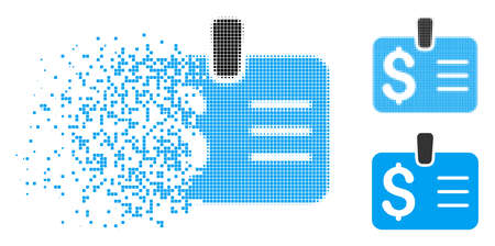 Dollar badge icon in fragmented, dotted halftone and whole variants. Pieces are composed into vector dissipated dollar badge icon. Disintegration effect uses rectangle scintillas.