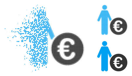 Euro investor icon in dissolved, dotted halftone and undamaged versions. Elements are combined into vector disappearing Euro investor figure. Disappearing effect involves rectangle scintillas.