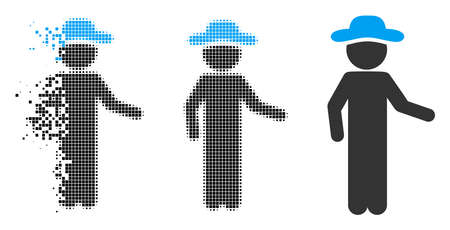 Gentleman invitation icon in dispersed, dotted halftone and undamaged variants. Particles are arranged into vector disappearing gentleman invitation icon. Disappearing effect uses square scintillas.