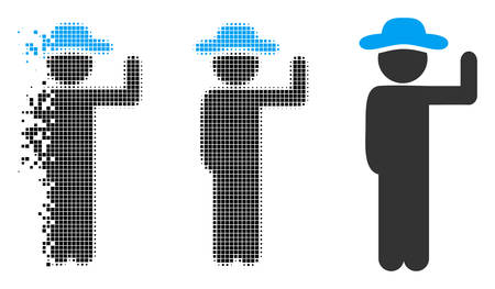 Gentleman vote icon in dispersed, pixelated halftone and original versions. Pieces are grouped into vector disappearing gentleman vote figure. Disappearing effect involves square dots. Illusztráció