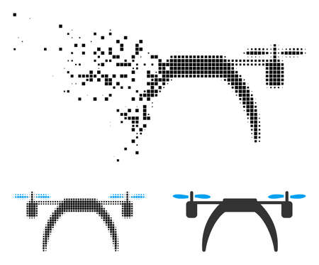 Copter icon in fractured, pixelated halftone and entire variants. Pixels are composed into vector disappearing copter shape. Disappearing effect uses square particles. Illustration