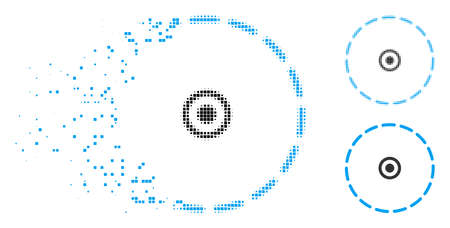 Circle area icon in dispersed, pixelated halftone and whole versions. Pieces are combined into vector dispersed circle area icon. Disappearing effect uses rectangular particles.