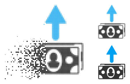 Spend banknotes icon in dispersed, dotted halftone and whole variants. Pieces are arranged into vector disappearing spend banknotes symbol. Disappearing effect involves square scintillas.
