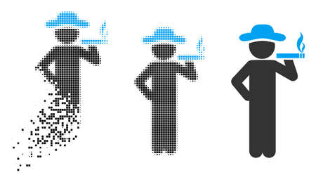 Smoking gentleman icon in fractured, dotted halftone and entire variants. Pixels are combined into vector disappearing smoking gentleman figure. Disappearing effect involves rectangular particles.