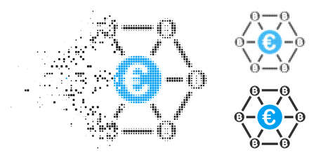 Bitcoin Euro net structure icon in dissolved, pixelated halftone and whole variants. Elements are grouped into vector dispersed Bitcoin Euro net structure icon.