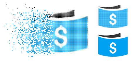 Banknotes icon in dissolved, dotted halftone and entire versions. Particles are composed into vector disappearing banknotes pictogram. Disappearing effect involves square scintillas. Ilustrace