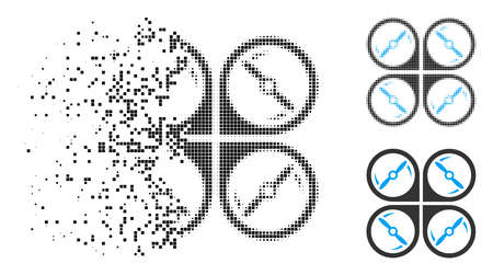 Quadcopter screws rotation icon in dissolved, pixelated halftone and undamaged variants. Particles are organized into vector disappearing quadcopter screws rotation figure.