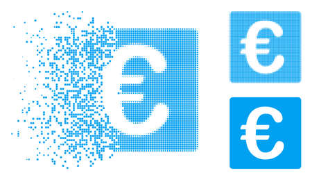 Euro financial icon in fractured, pixelated halftone and original versions. Pieces are combined into vector disappearing Euro financial icon. Disintegration effect uses rectangular particles. 向量圖像