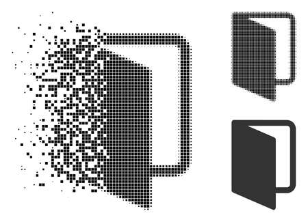 Open door icon in fractured, pixelated halftone and undamaged versions. Particles are arranged into vector disappearing open door pictogram. Disappearing effect involves rectangle particles.