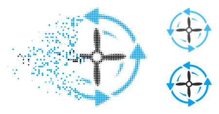 Screw rotation icon in dissolved, pixelated halftone and solid versions. Cells are organized into vector disappearing screw rotation pictogram. Disappearing effect involves square particles.
