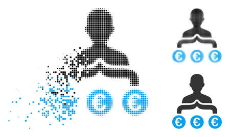 Euro capitalist icon in fractured, dotted halftone and entire variants. Fragments are arranged into vector dissolving Euro capitalist form. Disintegration effect involves square scintillas.