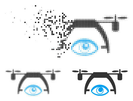 Video spy drone icon in fractured, pixelated halftone and solid variants. Cells are grouped into vector disappearing video spy drone shape. Disappearing effect uses rectangular scintillas.