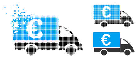 Euro collector car icon in dispersed, pixelated halftone and whole versions. Particles are combined into vector disappearing Euro collector car form. Disappearing effect uses rectangle particles.
