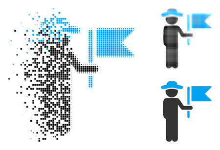 Gentleman commander icon in fractured, dotted halftone and original versions. Fragments are arranged into vector disappearing gentleman commander shape. Disappearing effect uses rectangle dots. Vettoriali