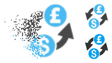 Dollar pound exchange icon in dissolved, pixelated halftone and undamaged variants. Pieces are organized into vector disappearing dollar pound exchange icon.