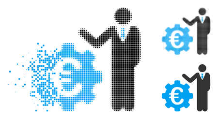 Euro businessman icon in fractured, pixelated halftone and whole variants. Particles are arranged into vector disappearing Euro businessman icon. Disappearing effect involves rectangle scintillas.