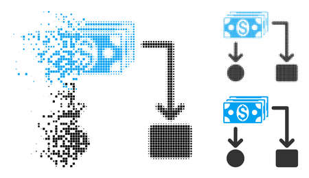 Cashflow icon in dissolved, dotted halftone and original variants. Particles are combined into vector disappearing cashflow shape. Disappearing effect uses rectangle particles.