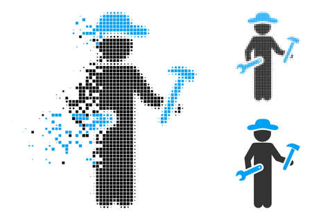 Gentleman serviceman icon in fractured, pixelated halftone and undamaged versions. Points are organized into vector disappearing gentleman serviceman icon. Disappearing effect uses rectangular dots. Ilustrace