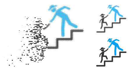 Gentleman education steps icon in fragmented, dotted halftone and whole variants. Particles are grouped into vector dispersed gentleman education steps icon. Vectores