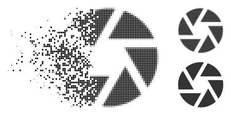 Shutter icon in fractured, pixelated halftone and whole variants. Points are combined into vector disappearing shutter figure. Disappearing effect involves square scintillas.