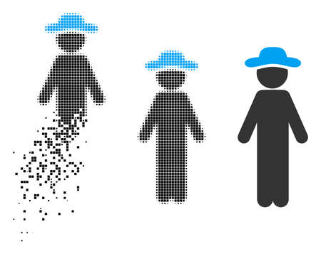 Standing gentleman icon in dissolved, pixelated halftone and whole variants. Cells are arranged into vector disappearing standing gentleman icon. Disappearing effect involves rectangular particles.
