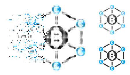 Bitcoin Euro network icon in dissolved, dotted halftone and entire variants. Elements are composed into vector disappearing Bitcoin Euro network shape. Disappearing effect uses rectangular scintillas.