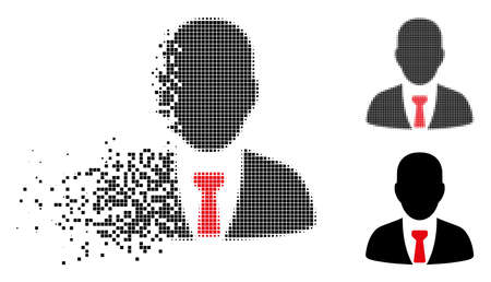 Businessman icon in fragmented, dotted halftone and entire variants. Pixels are organized into vector disappearing businessman pictogram. Disappearing effect uses rectangular particles.