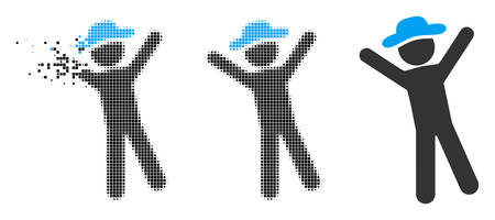 Gentleman joy icon in fragmented, dotted halftone and solid variants. Cells are composed into vector disappearing gentleman joy icon. Disappearing effect involves rectangular scintillas.