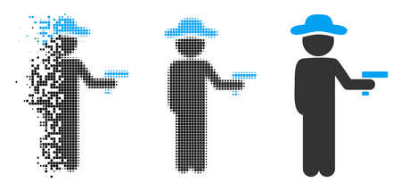 Gentleman robber icon in fractured, dotted halftone and whole variants. Pixels are arranged into vector disappearing gentleman robber icon. Disappearing effect involves rectangular particles.