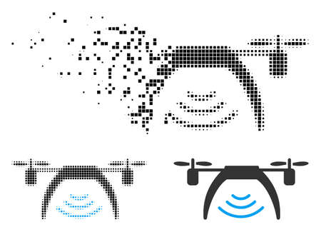 Drone WiFi repeater icon in fractured, pixelated halftone and undamaged versions. Fragments are grouped into vector disappearing drone WiFi repeater icon. Illustration