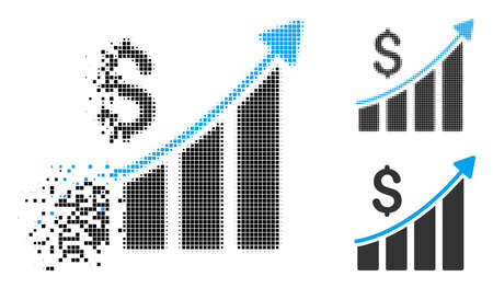 Sales growth bar chart icon in dissolved, dotted halftone and whole versions. Pieces are arranged into vector disappearing sales growth bar chart icon. Disappearing effect uses rectangular particles.