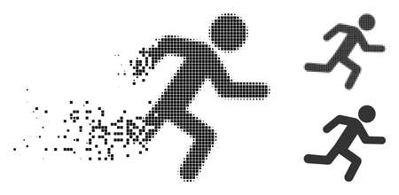 Running man icon in fragmented, pixelated halftone and undamaged versions. Particles are combined into vector disappearing running man form. Disappearing effect uses rectangle particles.