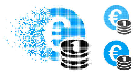 One Euro coin stack icon in fragmented, pixelated halftone and original versions. Elements are grouped into vector disappearing one Euro coin stack pictogram. Disappearing effect involves square dots.