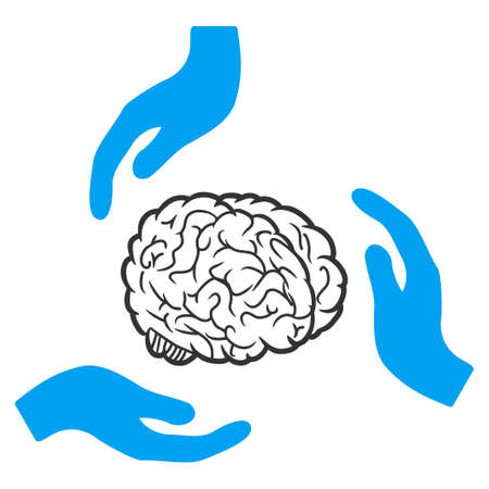 Vector brain care hands illustration. An isolated illustration on a white background.  イラスト・ベクター素材