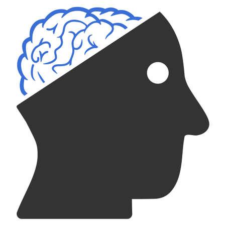 Vektor offene Gehirnillustration. Eine isolierte Illustration auf einem weißen Hintergrund.