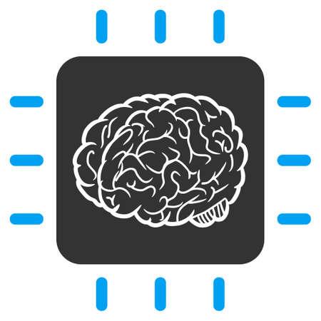 Illustration vectorielle du processeur neuronal. Une illustration isolée sur fond blanc.