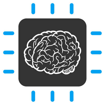 Vector neural processor illustration. An isolated illustration on a white background.
