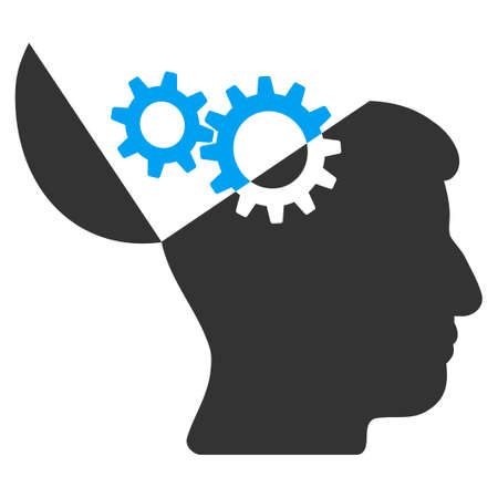 Raster open mind gears illustration. An isolated illustration on a white background.
