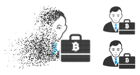 Bitcoin accounter icon with face in dispersed, pixelated halftone and undamaged whole versions. Pixels are composed into vector disappearing Bitcoin accounter icon.