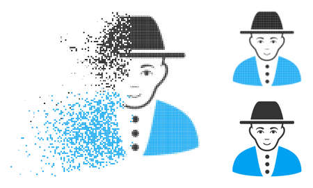 Jew icon with face in fractured, dotted halftone and undamaged solid versions. Particles are organized into vector dispersed jew icon. Disappearing effect involves square dots.