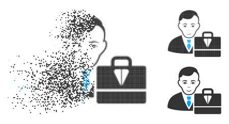 Ton accounter icon with face in fractured, dotted halftone and undamaged entire variants. Pixels are combined into vector dissipated ton accounter icon. Disintegration effect involves rectangle dots. Illustration
