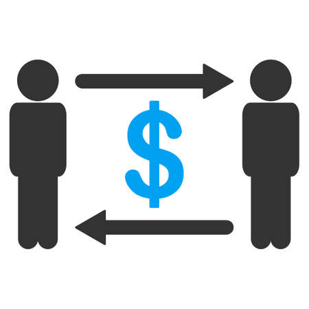 Persons exchange dollar raster pictogram. Illustration style is flat iconic symbol with gray elements.