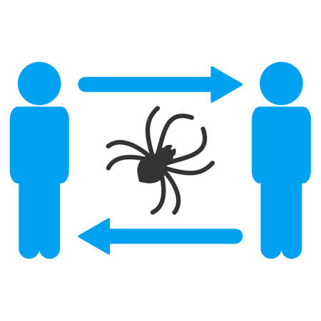 Persons exchange parasite raster pictograph. Illustration style is flat iconic symbol with gray elements.
