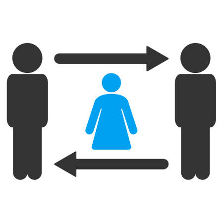 Persons woman exchange raster pictograph. Illustration style is flat iconic symbol with gray elements.