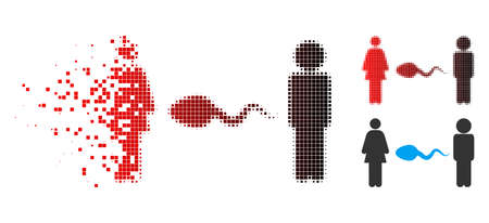 People exchange sperm icon in sparkle, pixelated halftone and undamaged entire variants. Pixels are grouped into vector disappearing people exchange sperm icon. Illustration