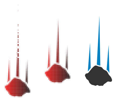 Falling stone icon in dispersed, pixelated halftone and undamaged whole variants. Elements are arranged into vector dispersed falling stone shape.
