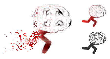 Running brain icon in fractured, dotted halftone and undamaged whole versions. Elements are arranged into vector disappearing running brain symbol.