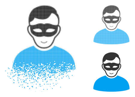 Anonymous person icon with face in disappearing, pixelated halftone and undamaged solid versions. Pixels are organized into vector dispersed anonymous person icon.