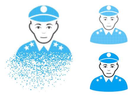 Icona generale dell'esercito con faccia a scomparsa, mezzitoni pixelati e versioni solide non danneggiate. Le cellule sono organizzate in forma generale dell'esercito dissolvente vettoriale. L'effetto di disintegrazione utilizza piccoli punti.